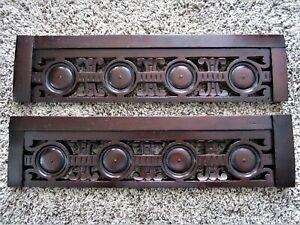 Pair Walnut Pierced Eastlake? Furniture Pediment Carved Victorian Fretwork Crest