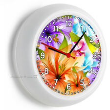 PURPLE ORANGE LILIES LILY WALL CLOCK BEDROOM BABY NURSERY ROOM HOME FLORAL DECOR