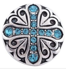 Blue Rhinestone Cross 20mm Snap Interchangeable Charm For Ginger Snaps Jewelry