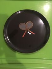 """1960's Couroc 12"""" tray featuring two inlaid rackets and white tennis balls"""