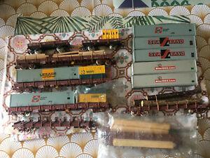 jouef ecart HO gros lot de wagons bogies porte containers et autre
