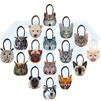 New 3D Fashion Cute Animal Face Shopping / Shoulder Handbag Pug Cat Owl Fox