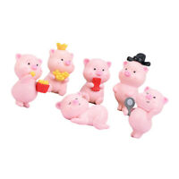 Microlandschaft Ornaments Crafts for Flower Pot 6pcs Pig Adornments
