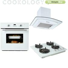 Cookology 60cm White Electric Fan Oven, Gas-on-Glass Hob & Curved Hood Pack