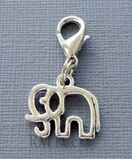 Dangle ELEPHANT Clip On Charm Lobster Clasp Fits Link Chain, floating locket C54