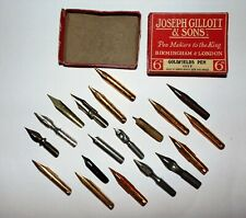 VINTAGE RED Gillott FOUNTAIN PEN Nibs End GOLD Silver Colours GOLDFIELDS 1117