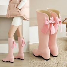 Womens Sweet Bow Knot Round Toe Knee High Hidden Heels Riding Boots Fashion Shoe