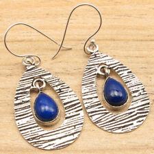 Original Lapis Lazuli Gemstone Drop Earrings Manufacturer, 925 Silver Plated