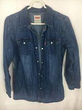 Wrangler Denim Snap Shirt Boys Large Long Sleeve Blue Jean