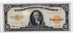 1922 $10 Ten Dollars GOLD CERTIFICATE Large Horse Blanket FR#1173 Speelman-White
