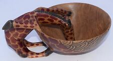 African Giraffe Drinking Bowl Painted Carved Wood Heavy Painted Kenyan Large