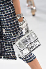 Chanel NWT Airline Runway 2016 Silver Leather Gloves ($855) w/tax