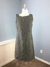 LL Bean Charcoal Gray Shift Dress M 8 P 100% wool Excellent Career Casual empire