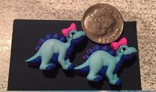 Blue dino with pink bow metal post earrings