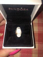 Genuine New Pandora 14ct 14k Gold Murano Glass Charm -  White Mystic 750406