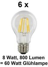 6 x 8 Watt FADEN FILAMENT LED Birne, E27, Klarglas Warmweiß ~60 Watt Glühbirne