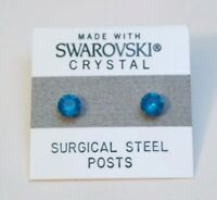 Blue Round Stud Earrings 4mm Turquoise Crystal Made with Swarovski Elements