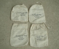 "Vtg Lot of 4 CAPITAL IRON WORKS Canvas Bag Sack TOPEKA KANSAS 5.5""x7.5"" Rare"