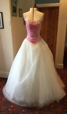 PINK & IVORY FAIRYTALE WEDDING DRESS - SIZE 10-12 APPROX