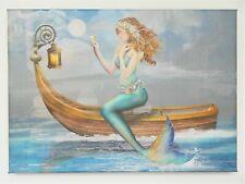 Mermaid on Boat Canvas Print Wall Art Watercolor Style Fantasy New