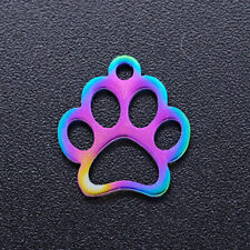Rainbow Paw Print Charm Stainless Steel Metal Dog Person Jewelry 13mm