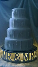 Mr & Mrs diamante wedding cake stand + lights W personalised word options