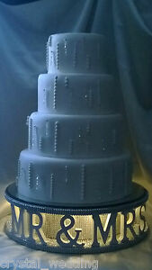 Mr & Mrs diamante wedding cake stand + lights W personalised word options