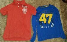 2 Old Navy size 10/12 Large Shirts, blue & red