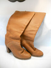 "Vintage Leather Zodiac Knee High Boots Brown Womens 7 M With a 4"" Heel"