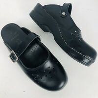 Dansko Merrie Black  Leather Clogs Size 38 Backless Mules Mary Jane 7.5 8