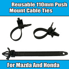 x10 Clips For Mazda Honda Reusable 110mm Push Mount Cable Ties Black Plastic