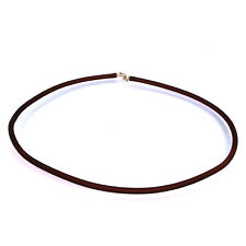 BROWN  CORD  NECKLACE   w/Sterling Silver Clasp__ITALY