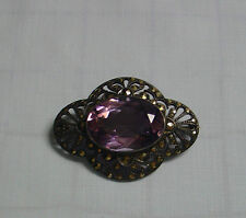 vintage faceted amethyst  marcasite brooch pin RARE beautiful fine jewelry