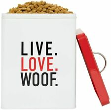 Live Love Woof Pet Dog Cat Food Treats Metal Tin Jar Container Canister Amicipet