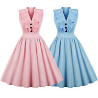 Retro 50s Swing V-neck Rockabilly Ruffle Plus Size Party Cocktail Vintage Dress
