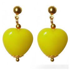 Boucles D'oreilles femme manga kawaii cosplay années 80 coeur jaune très légeres