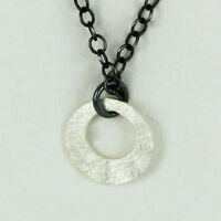 "Far Fetched Brushed STERLING SILVER CIRCLE Cutout NECKLACE Pendant 16-18"" Chain"