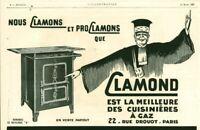 Publicité ancienne Clamond cuisinières à gaz Paris 1925 issue de magazine