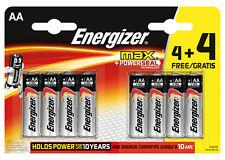 8x Energizer AA Max alcalino Powerseal Baterías - LR6 Mx1500 Mn1500 Mignon
