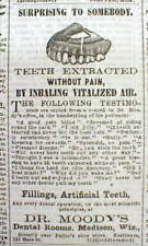1867 Madison WI newspaper w ILLUSTRATED DENTIST AD - NITROUS OXIDE Laughing Gas