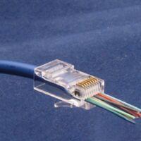 PACK 50 EZ RJ45 Crimp End Plug Connectors Network Cable Pass Through CAT5e CAT6