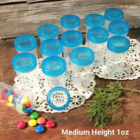 "12 Pill Jar 2+"" tall Screw Aqua Cap 1 ounce Party Favor Size Container 3812 USA"