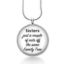 Sisters Family Tree Necklace - Religious Quote Pendant - Jewelry Gift for Girls