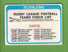 1979  EASTERN SUBURBS ROOSTERS  RUGBY LEAGUE CHECKLIST CARD - CHECKED