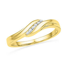 Ladies Round Diamond Ring, Fashion Engagement Ring 10k Yellow Gold, 1/20 Cttw