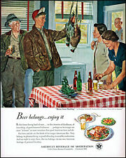 1950 Douglass Crockwell art Home From Hunting U.S. Brewers vintage print ad L53