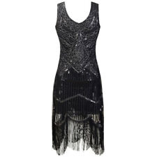 New 1920s vintage gatsby flapper charleston sequin black evening dress UK 8-16