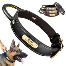 Personalized Leather Dog Collar w/Handle Heavy Duty Engraving ID Name Adjustable