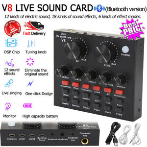 V8 External USB Live Sound Card Microphone Mixer for PC Phone Webcast Broadcast