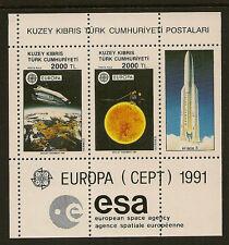 Turca de Chipre: 1991 Europa Miniatura Hoja Sg Ms 306 Menta desmontado